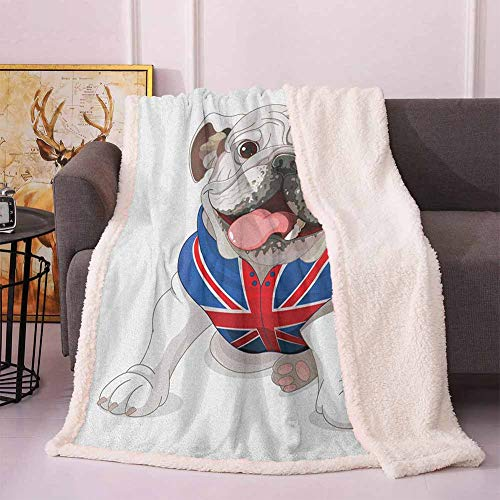 English Bulldog Soft Throw Blankets Happy Dog Wearing a Union Jack Vest Cartoon Style Animal Design Soft Blankets Cream Navy Blue Red 60'x70'