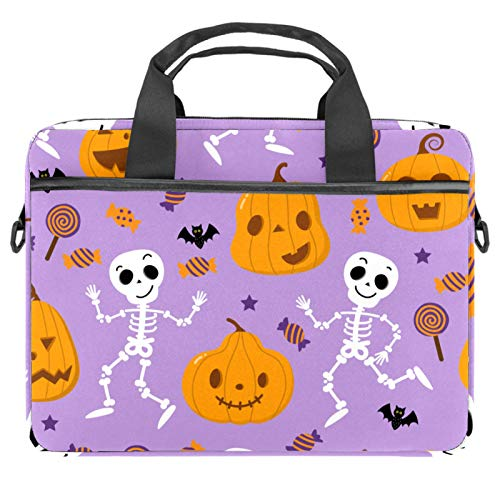 Happy Candy Ghost Pumpkin Laptop Bag Messenger Bag Slim Briefcase with Crossbody Shoulder Bag Computer Bag Computer and Tablet Carrying Case for 13.4-14.5In