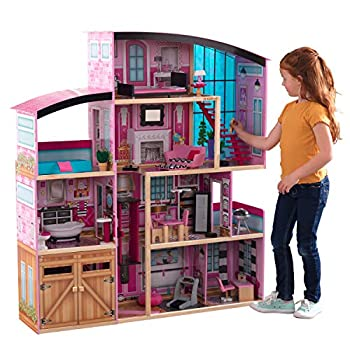KidKraft KidKraft Shimmer Mansion Wooden Dollhouse for 12-Inch Dolls with Lights & Sounds and 30-Piece Accessories ,Gift for Ages 3+ Pink