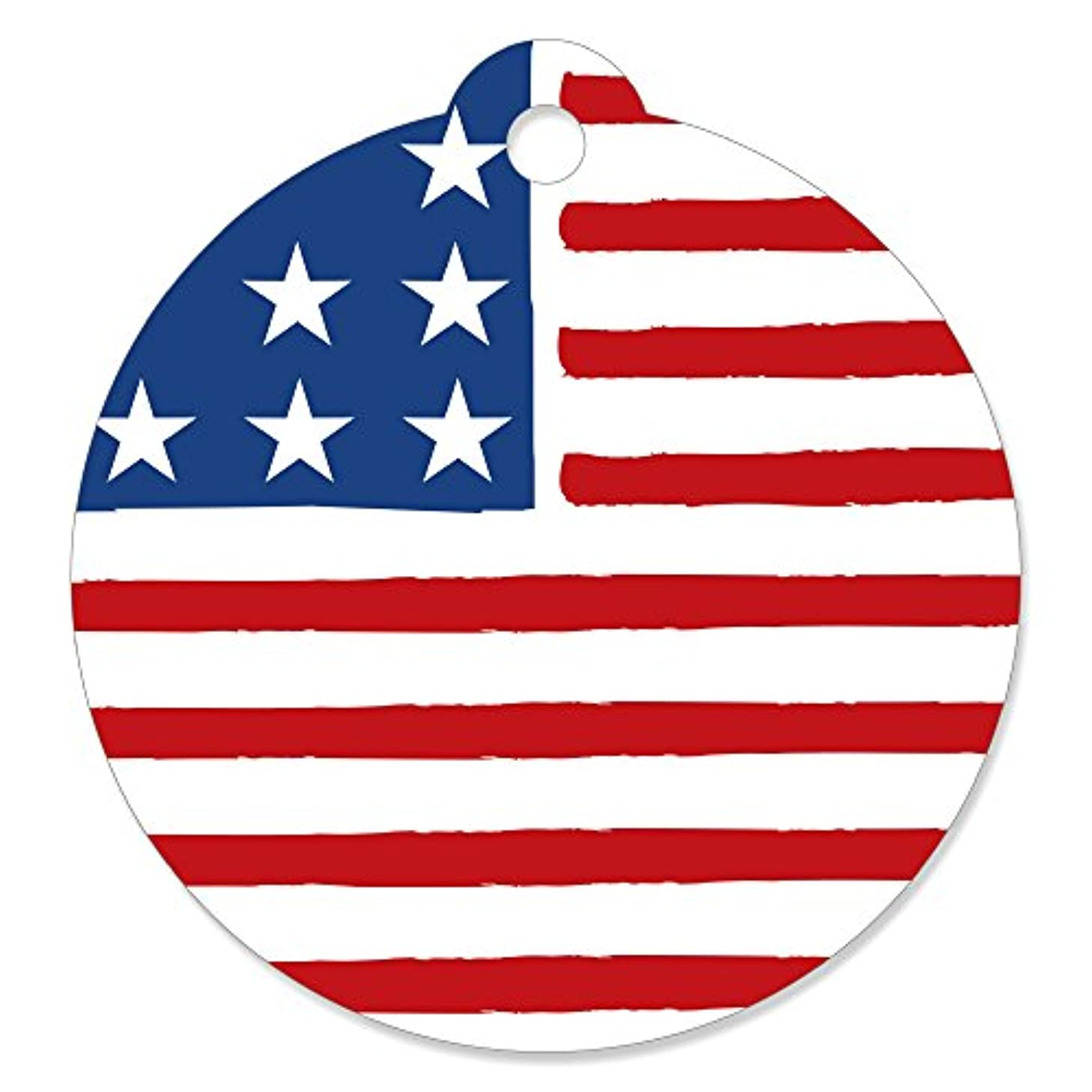 Stars & Stripes - 4th of July USA Patriotic Independence Day Party Favor Gift Tags (Set of 20)