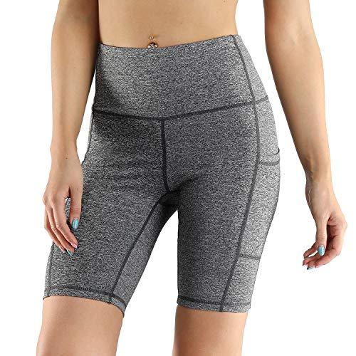 WWWNNUUUX Frauen Gym Shorts, Leggings 1/2 Länge Overknee-Shorts Seitentasche mit hohen Taille Yoga-Hosen Bauch-Steuer Abnehmen Stretch Strumpfhosen,Grau,XL