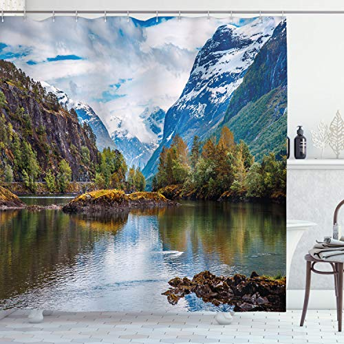 """Ambesonne Nature Shower Curtain, Norway Mountain Range with Snowy Peaks by The Lake Fishing Nordic Northern Landscape, Cloth Fabric Bathroom Decor Set with Hooks, 70"""" Long, Blue Brown"""