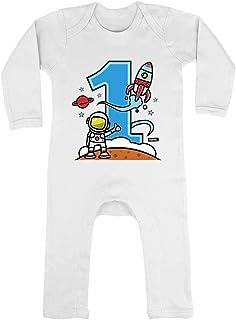 HARIZ HARIZ Baby Strampler Astronaut Rakete 1 Geburtstag Geschenkidee Inkl. Geschenk Karte Unschulds Weiß 3-6 Monate