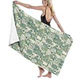 Ewtretr Toalla de Playa Bath Towels What's That Lying with The Sheep Microfiber Bath Towel Soft High Absorption Quick Drying Bathroom Travel Sports and More130cmx80cm