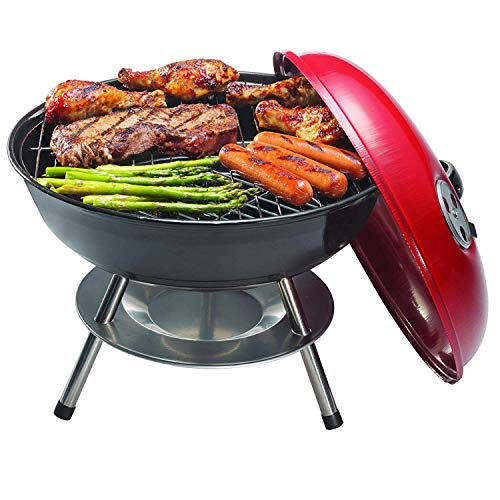 Ovente Outdoor Tabletop Mini Charcoal & Wood Grill 14 inch Portable Black & Red Cooker Cool Touch lid Handle with Duel Vent Ideal for Camping Picnic Tailgate Burger Steak Hot Dog Chicken GQR0400BR