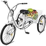 DNNAL Adulto Triciclo, 24 Pulgadas de Tres Ruedas de Bicicleta de montaña de la Bici Triciclo...