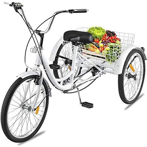 DNNAL Adulto Triciclo, 24 Pulgadas de Tres Ruedas de