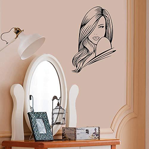 Tianpengyuanshuai Vinyl Dekoration Salon Wandaufkleber Haarübertragung Schönheit Grafik Aufkleber abnehmbar -50X74cm