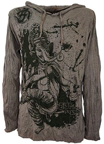 Guru-Shop Sure Langarmshirt, Kapuzenshirt Dancing Ganesh, Herren, Taupe, Baumwolle, Size:L, Bedrucktes Shirt Alternative Bekleidung