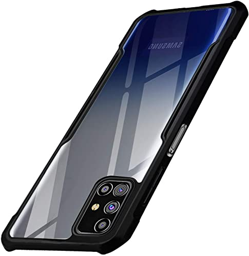 Thegiftkart Shockproof Crystal Clear Transparent Samsung Galaxy M31s Back Cover Case 360 Degree Protection Protective Design Black Bumper