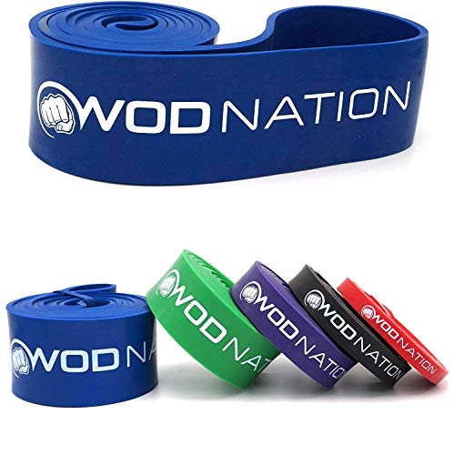 WOD Nation Pull Up Assistance Band - Best for Pullup Assist, Chin Ups, Resistance Bands Exercise, Stretch, Mobility Work & Serious Fitness - 41 inch Straps - Single Blue Band