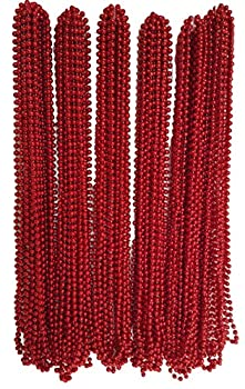 Festive Metallic Beaded Necklaces 144 Pack RED