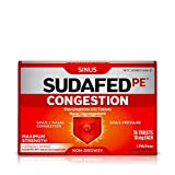 Sudafed PE Congestion and Sinus Pressure Relief Tablets, Non-Drowsy Maximum Strength Nasal Decongestant with Phenylephrine HCI, 36 ct (Pack of 2)