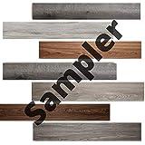 Luxury Vinyl Floor Tiles by Lucida USA   Peel & Stick Adhesive Flooring for DIY Installation   5 Sample Wood-Look Planks   6' x 12'