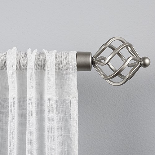 "Exclusive Home Curtains Torch 1"" Curtain Rod and Finial Set, 36""-72"", Matte Silver"