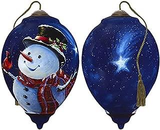 Ne'Qwa Art Hand Painted Blown Glass Magic of Christmas Snowman Ornament,