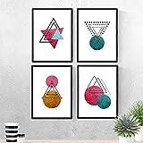 Nacnic Set de 4 láminas para enmarcar Constelaciones Y Lunas. Posters Estilo nórdico con triángulos para la decoración del hogar.