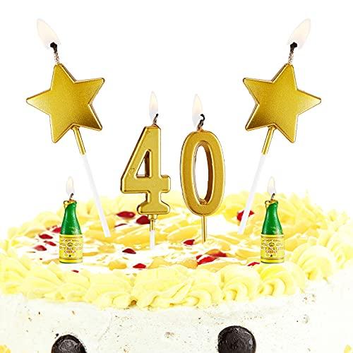 Candele per Torta di Compleanno Candele per Torta Digitale Candele per Torta con Stella d'Oro Candele per Bottiglia di Vino Set di Candele per Feste Decorazioni per Feste di 40 Anni