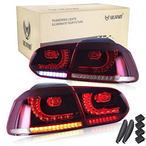 VLAND LED BAR Rücklichter für GOLF MK6 GTI TDI GTD R 2008-2013 Sequenzielle Anzeige (Rot und weiß)