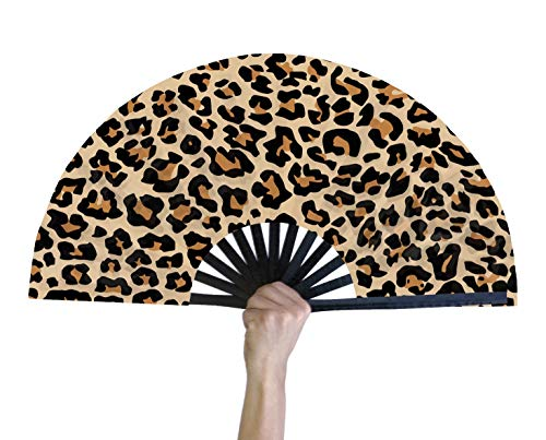 God Glam It Hand Fan – Bamboo Hand Fan for Women and Men – Big Folding Fan – Chinese Fan for Festivals, Parades, and Decorations – Black Design with Custom Print – 12-inch Handheld Fan (Cheetah)