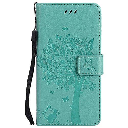 THRION LG G5 Hülle, PU Cat und Baum Brieftaschenetui mit magnetischer Handschlaufe und Ständerhalterung für LG G5, Grün