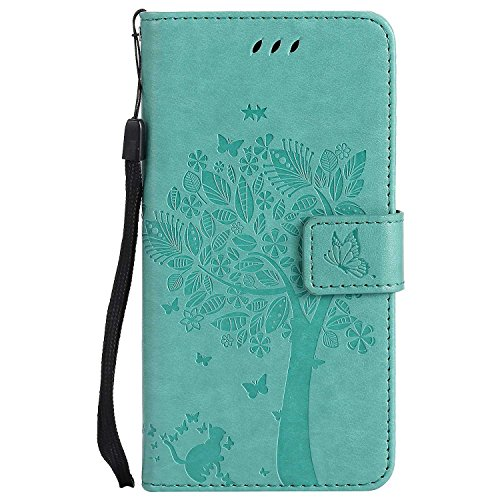 LG G5 Hülle,THRION PU Cat und Baum Brieftaschenetui mit magnetischer Handschlaufe und Ständerhalterung für LG G5, Grün