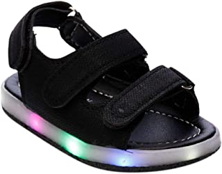 Hopscotch Boys and Girls Artificial PU Double Strap LED Sandals - Black