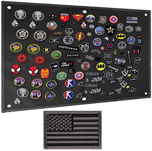 """IronSeals Tactical Board Patch Organizer Holder Display with Loop Surface, Steel Ring and Flag Patch(L: 110 x 70 cm/ 43"""" x 27.5"""", Black + Flag Patch)"""