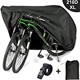 EUGO Bike Cover for 2 or 3 Bikes Outdoor Waterproof Bicycle Motorcycle Covers XL XXL Oxford Fabric Rain Sun UV Dust Wind Proof for Mountain Road Electric Bike Tricycle
