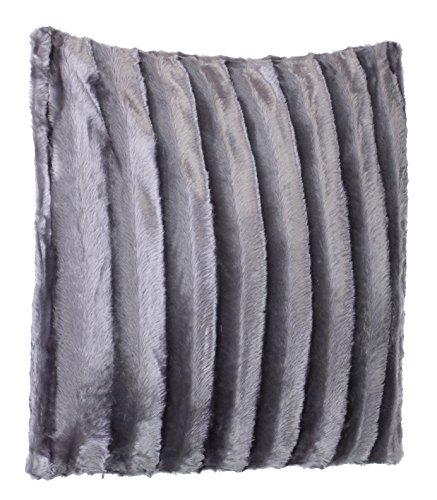 Brandsseller Coussin en Fourrure synthétique - Coussin Aspect Vison - Ultra Souple et Doux avec garnissage - Dimensions: 50 x 50 cm - Gris