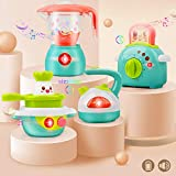 GizmoVine Zubehör Kinderküche mit Toaster, Mixer, Wasserkocher und Herd Rollenspiel Spielküche mit Licht und Musik für 2 3 4 5 Jahre Mädchen Jungen Kinder