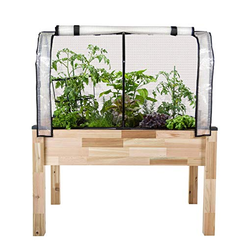 "CedarCraft Elevated Cedar Planter (23"" x 49"" x 30'H) + Greenhouse Cover - Complete Raised Garden kit to Grow Tomatoes, Veggies & Herbs. Greenhouse extends Growing Season, Protects Plants"