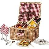 Cesto da picnic per 2 persone, resistente set di cesto da picnic in vimini, cesto da picnic in salice, piatti e utensili, regalo perfetto per matrimonio, anniversario o compleanno (quadretto rosso)