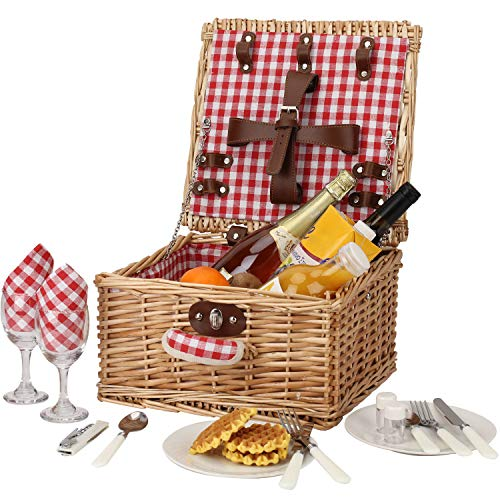 Home Innovation Picnic Basket for 2 Person, Durable Wicker Picnic Hamper Set, Willow Picnic Basket Accessories Plates and Utensils, Perfect Wedding, Anniversary or Birthday Gift (Red Check)