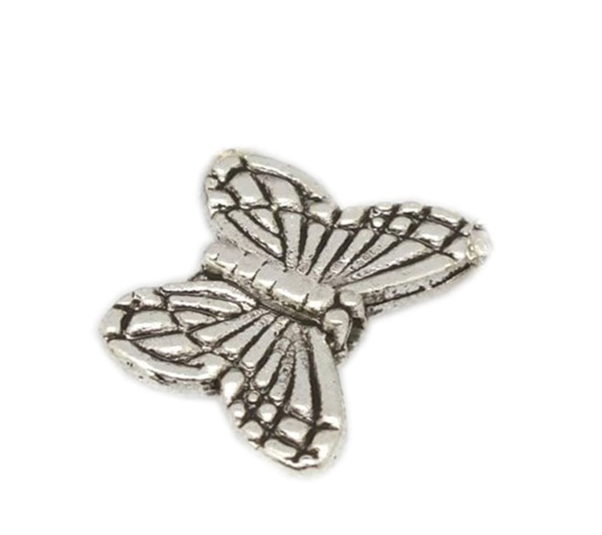 GBSTORE 50 Pcs Tibetan Silver Butterfly Spacer Charm Beads 10mm