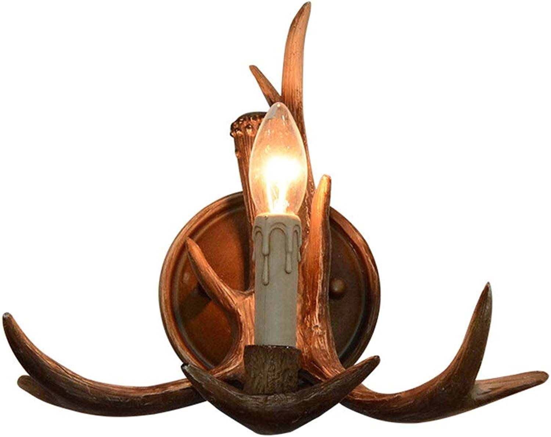 Amerikanischen Harz Wandleuchte, Retro LED Hirschkopf kerzenfrmigen Dekorative Kronleuchter Wandleuchte Moderne Kreative Nachttischlampe Schlafzimmer Wohnzimmer Studie Wandleuchte Beleuchtung