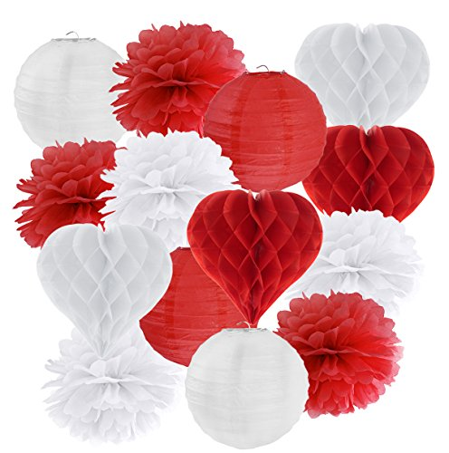 in due Hängedekoration 14 teilig Mix Rot/Weiß - Lampions, Herz-Wabenbälle/Honeycombs, Pompoms Valentinstag Hochzeit