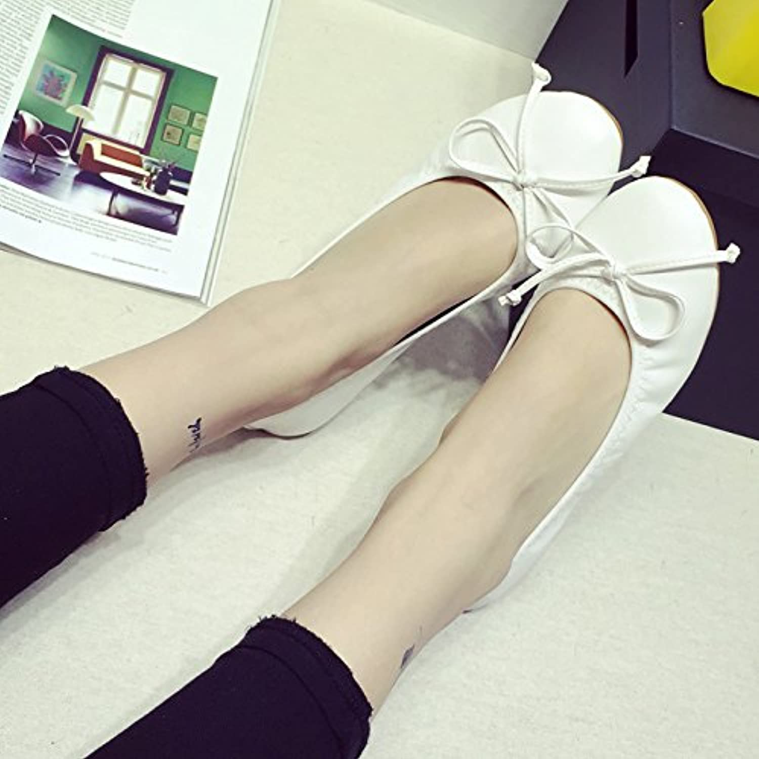 WYMBS Spring new comfortable flat shoes bow round egg rolls shoes flat shoes