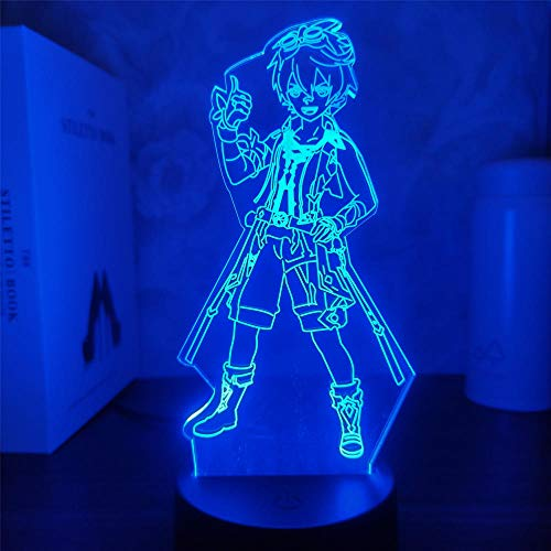 Genshin Impact Bennett 3D Lámpara de juego de ilusión LED Figura de luz nocturna para niños niños dormitorio decoración táctil sensor acrílico mesa regalo 16 colores, control remoto