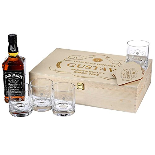 polar-effekt 10-TLG Whisky Geschenk-Set mit Jack Daniels No.7-4 Gläser, 4 Untersetzer und Whiskey-Karaffe in Geschenkbox Geburtstagsgeschenk für Männer mit Gravur - Motiv Premium Quality