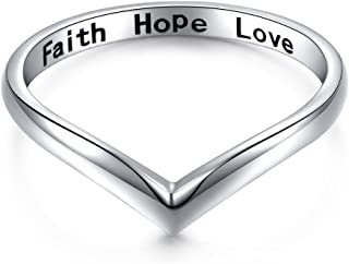 Sterling Silver Jewelry Faith Hope Love Beads Chevron Thumb Ring V Shape Ring (Size 6,7,8)