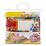 Craft Carry Pack - Children's Art and Craft Kit - Contains Lolly Sticks for Craft, Pipe Cleaners, Googly Eyes, PVA Craft Glue, Pom Poms, plus assorted Craft Paper