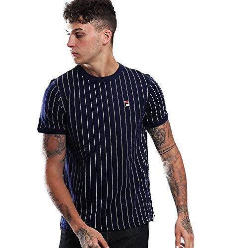 Fila Vintage Hombre Camiseta Guilo, Azul, Large