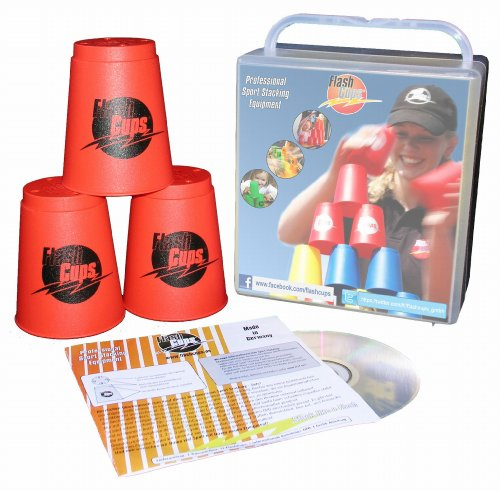 Flash Cups 1002 - Speed Stacking: FlashCups (12 Stk., rot) mit Lunchbox+DVD