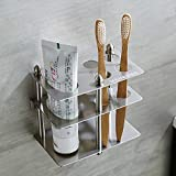 Mellewell Toothbrush Holder Toothpaste Organizer Stand Bathroom Storage, Stainless Steel...