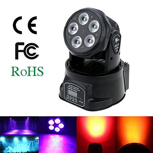 Lixada Moving Head, DMX512 Bühnenlicht mit 10/15channels, 5 * 15W Disco Lichteffekt LED Disco Laser für DJ Party Beleuchtung