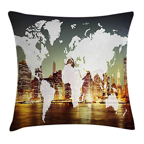 MLNHY World Throw Pillow Cushion Cover, World Global Cartography Globalization Earth International Concept New York City, Decorative Square Accent Pillow Case, 18 X 18 inches, Multicolor