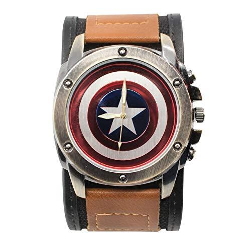 Captain America Shield Armbanduhr mit doppeltem Befestigungsband, verstellbar