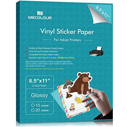 MECOLOUR Premium Printable Vinyl Sticker Paper for Cricut Glossy White 20 Sheets...