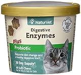 GARMON CORP naturvet Digestivo Enzimas Plus Probiotic para Gatos, 60CT Dental para Suave, Fabricado en Estados Unidos